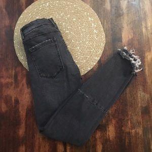 Zara Black distressed skinny jeans